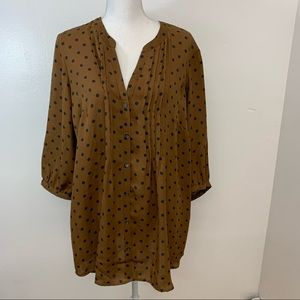 Lands' End Woman's Top Tunic 1 X  Brown Polka Dots